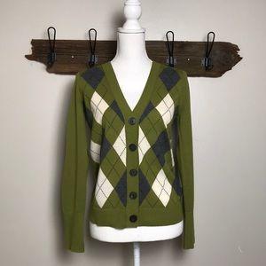 J Crew Cardigan Argyle Olive Green Merino Wool EUC